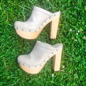 ALDO wooden high heels.